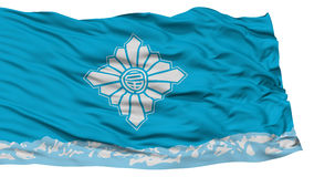 Isolated Toyama Flag, Capital of Japan Prefecture, Waving on White Background Stock Photography