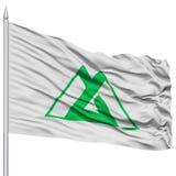 Isolated Toyama Japan Prefecture Flag on Flagpole Stock Photo