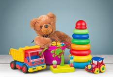 Toys collection isolated on background royalty free stock photography