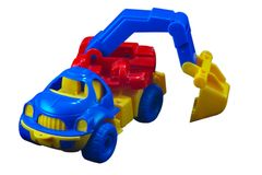 Isolated track excavator, path included. An isolated  plastic toy with path Stock Images