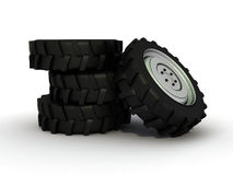 Isolated tractor tire. Image showing a group of tires Royalty Free Stock Photography