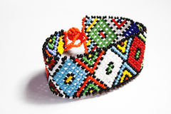 Isolated Traditional Bright Beaded Zulu Bracelet Royalty Free Stock Photography