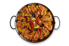 Isolated Traditional Spanish Paella Royalty Free Stock Image