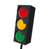 Isolated traffic light with all lights on Royalty Free Stock Images