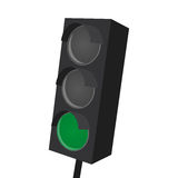 Isolated traffic light with green light on Royalty Free Stock Photos