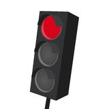 Isolated traffic light with red light on Stock Image