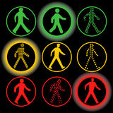Isolated traffic lights elements vector logo set. Circular road signs. Isolated traffic lights elements vector logo set. Circular green, yellow, red color road Royalty Free Stock Photos