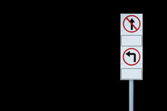 Isolated traffic sign on black background Royalty Free Stock Photography