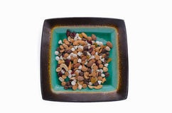Isolated Trail Mix. Isolated plate of trail mix Stock Photography