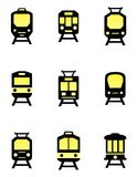 Isolated train icons set Stock Images