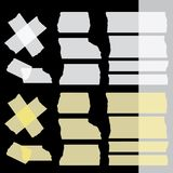 Vector adhesive tapes set on black dark background. Isolated. Transparent - tape up object will be see. Eps 10  file Stock Photography