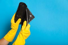 Isolated trash bag, plastic disposal garbage container royalty free stock photography