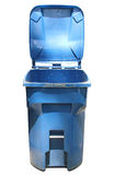 Isolated Trash Can. Isolated blue trash can with the lid open Stock Image