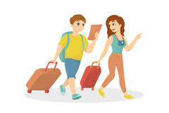 Isolated travelling couple. Isolated travelling couple on white background with luggage and map Stock Photo