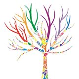 Isolated tree. Vector illustration of a tree with colored patterns Royalty Free Stock Image
