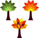 Isolated Tree Illustrations, Fall Tree, Green Tree. Isolated seasons tree illustrations with red leaves, green leaves, yellow leaves, brown trees, orange leaves Royalty Free Stock Photo