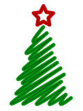 Isolated tree with lines. Isolated tree with the line, vector art illustration for Christmas and New Year Stock Photo
