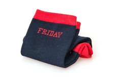 Isolated trendy wool socks with inscription FRIDAY Royalty Free Stock Photos