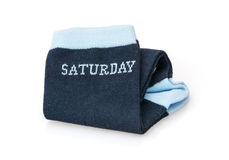 Isolated trendy wool socks with inscription SATURDAY Stock Photography