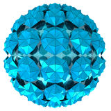 Isolated triangulated blue snowflake sphere study wallpaper. Illustration Royalty Free Stock Images