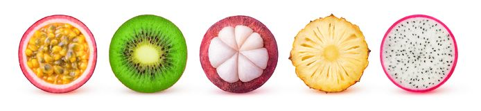 Isolated tropical fruit slices Stock Photos