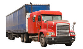 Isolated truck. The isolated red truck driving Royalty Free Stock Photos