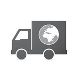 Isolated truck with   an Asia, Africa and Europe regions world g Royalty Free Stock Photos