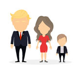 Isolated Trump family. Russia, December 19 2016 Donald Trump with wife Melania and their son. New american president and First lady of the United States Royalty Free Stock Photography