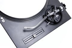 Isolated turntable with white vinyl record Royalty Free Stock Photography