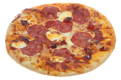 Isolated Tuscan Salami Pizza Stock Photography