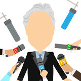 Isolated tv journalist. Stock Photo