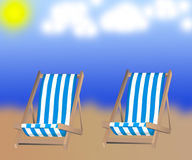Isolated  two loungers on the background Royalty Free Stock Photography