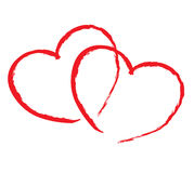 Isolated two red hearts Royalty Free Stock Images
