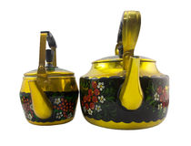 Isolated two Russian style kettles. Stock Photography