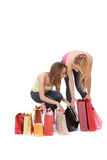 Isolated two shopping women Stock Photos