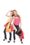 Isolated two shopping women Stock Image