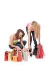 Isolated two shopping women Stock Images
