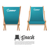Isolated two turquoise summer beach chair in front and back view. Royalty Free Stock Photography