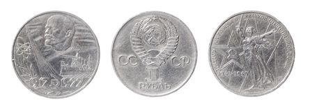 Isolated two USSR coins Stock Photo