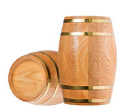 Isolated two wood casks Stock Images