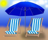 Isolated umbrella and two loungers on the background Royalty Free Stock Photos