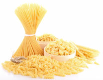 Isolated uncooked pasta Royalty Free Stock Images