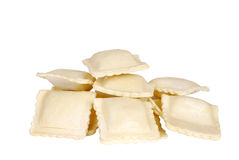 Isolated uncooked ravioli Royalty Free Stock Photos