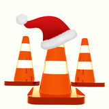 Isolated under construction cones with santa hat Stock Photo