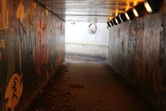 An isolated underground Subway with graffiti stock photo