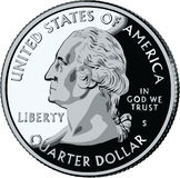 Isolated United States Quarter - vector illustrat. Ion 25 cents Royalty Free Stock Photo