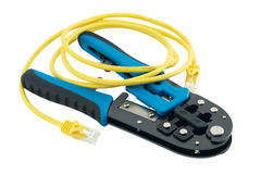 Isolated universal crimper with patch cord Stock Images