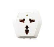 Isolated universal plug socket on white Stock Photography