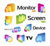 Isolated unusual rectangles with rounded corners intersecting each other.Digital smart TV monitor technology logo Royalty Free Stock Images