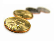 Isolated US 2007 One Dollar Coins Pattern Stock Image